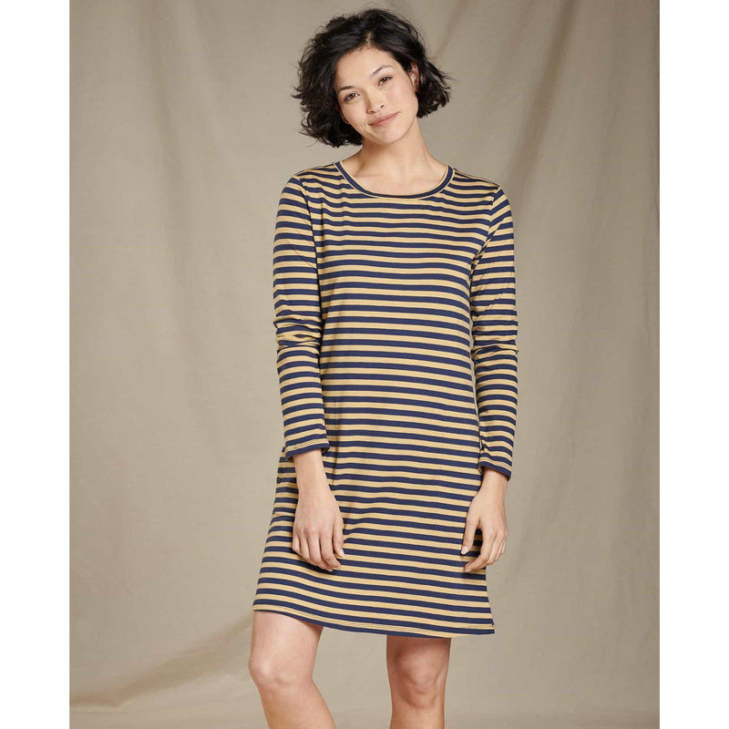 Toad & Co.  Women's Windmere II Long Sleeve Dress - Sand Beach Stripe / L