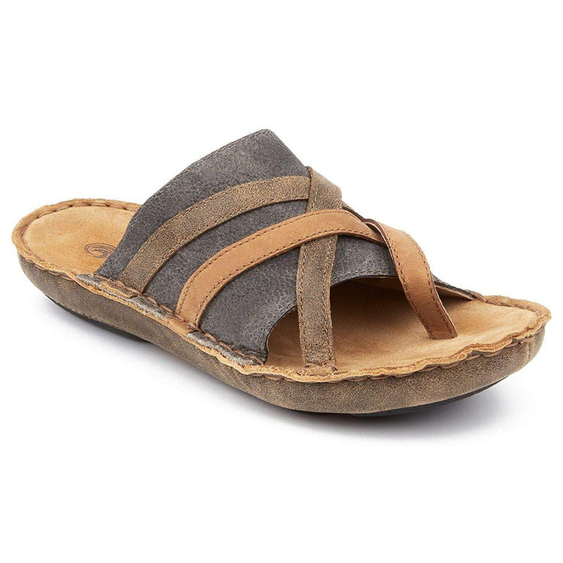 Tamarindo Sanddollar Sandal Women's Leather Softbed Flip Flop - Suntan/Pebble / 10