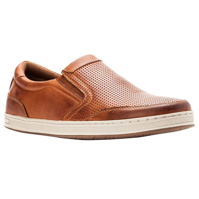Propét Propet Men's Logan Nubuck, Nylon, Polyurethane, Rubber Slip On Sneakers - Brown / 10