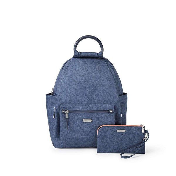 Baggallini All Day Backpack with RFID Phone Wristlet (Navy) - Steel Blue