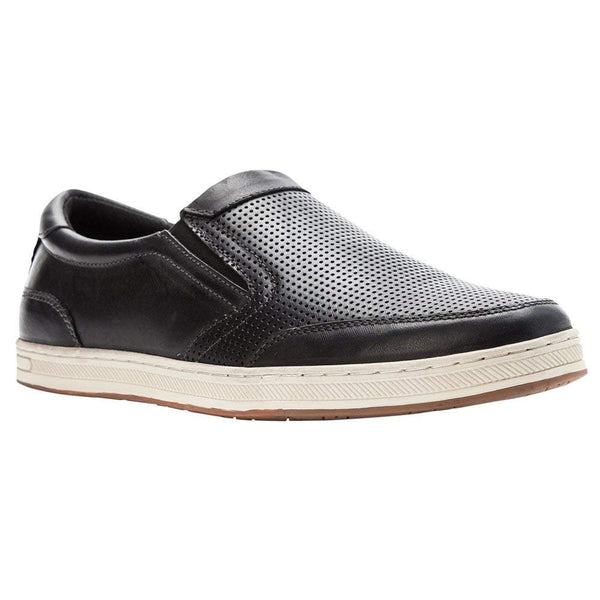 Propét Propet Men's Logan Nubuck, Nylon, Polyurethane, Rubber Slip On Sneakers - Black / 10 Wide