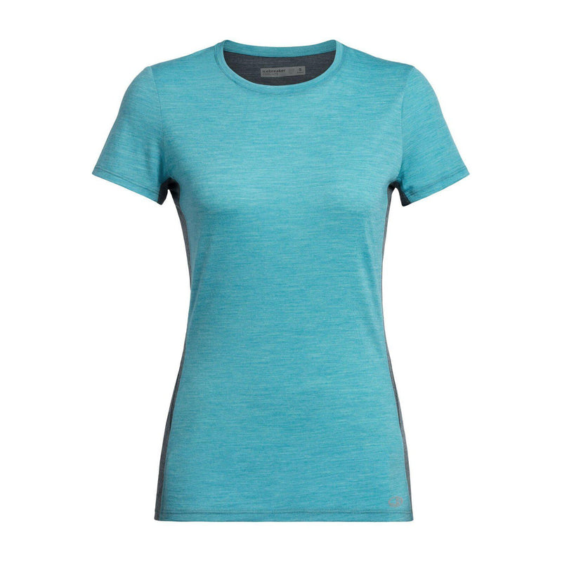 ICEBREAKER Women's Cool-Lite™ Amplify Short Sleeve Low Crewe - Arctic Teal Heather/Nightfall Heather / Small