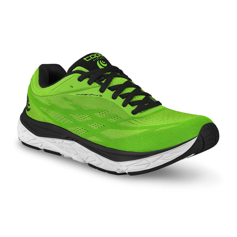 Topo Athletic Mens Magnifly 3 Running Shoe - BRIGHT GREEN/BLACK / 10