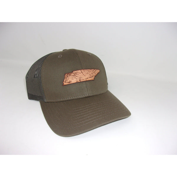 Grivet Outdoors Tennessee State Leather Patch Trucker Hat - Brown /Brown Mesh