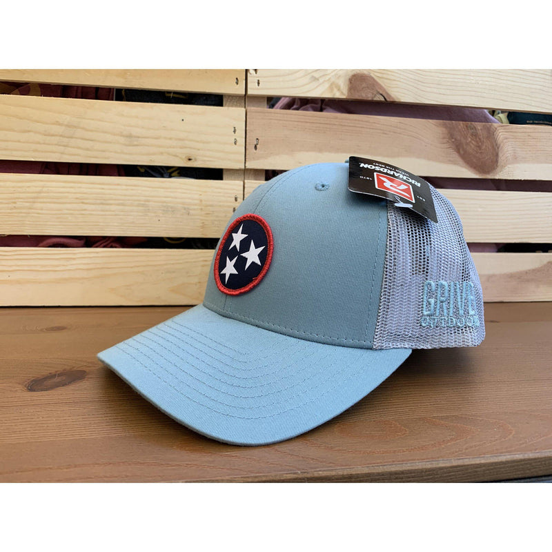 Grivet Outdoors Tennessee State Tri Star Cloth Patch Trucker Hat - Teal / White Mesh