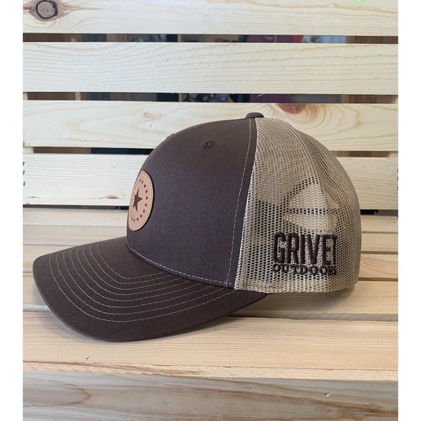 Grivet Outdoors Mississippi State Single Star Leather Patch Trucker Hat - Brown/Grey Brown