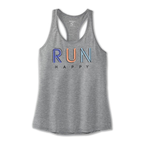 Brooks Women's Distance Graphic Tank - Heather Ash/Multi Run / Extra Large
