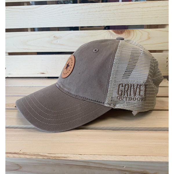 Grivet Outdoors Mississippi State Single Star Leather Patch Trucker Hat - Faded Tan/Grey Brown