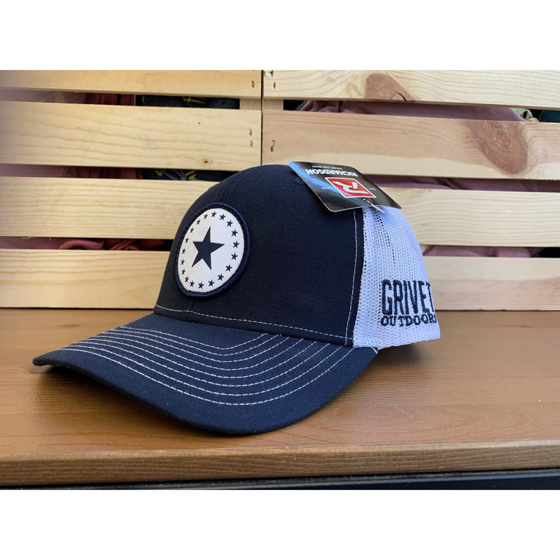 Grivet Outdoors Mississippi State Single Star Cloth Patch Trucker Hat - Navy Blue/White Mesh