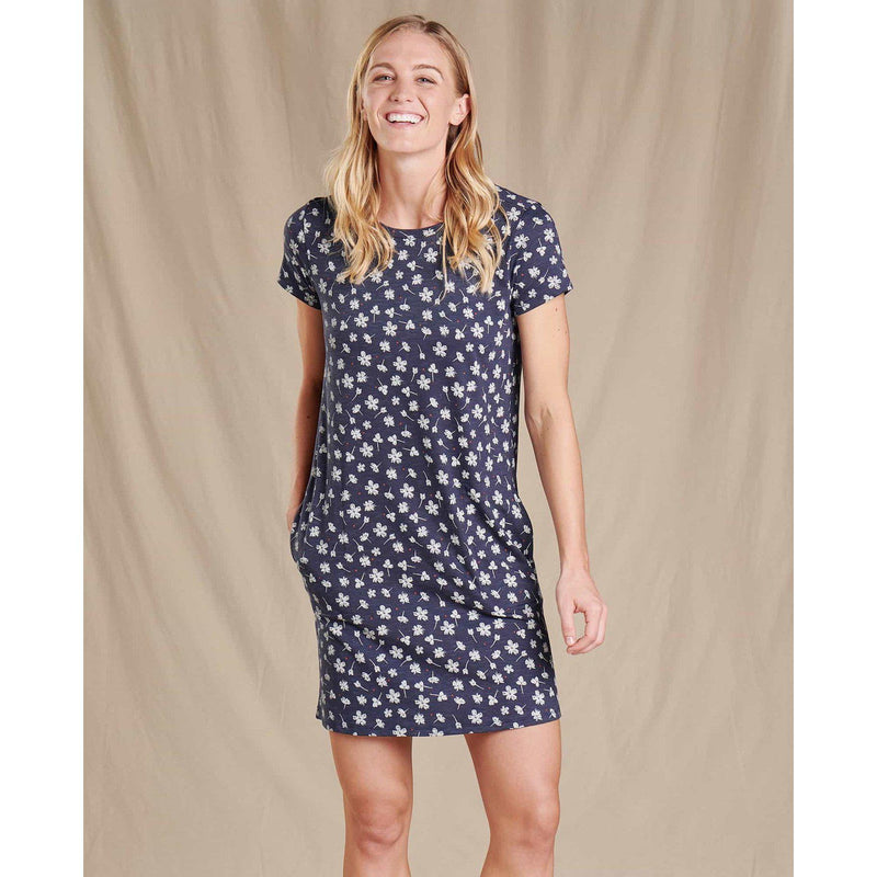 Toad & Co. Women's Windmere Short Sleeved Dress - True Navy Tossed Floral Print / Extra Large