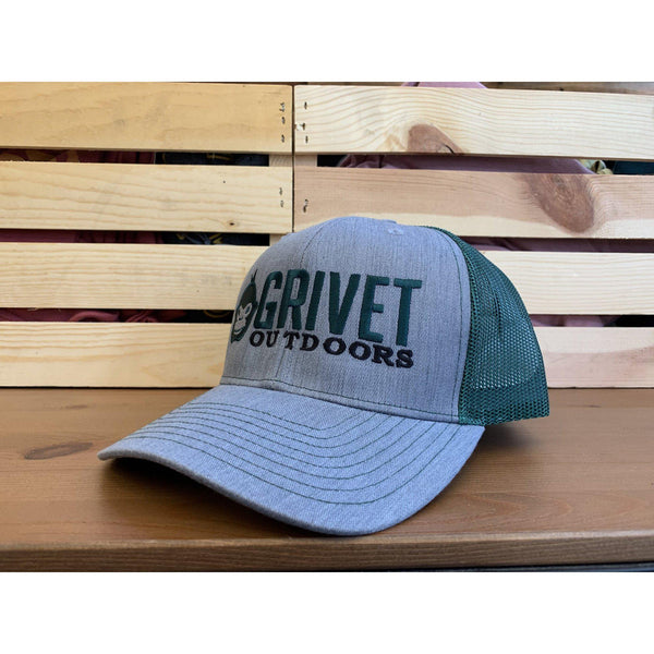 Grivet Outdoors Embroidered Trucker Hat - Heather Grey/Dark Green
