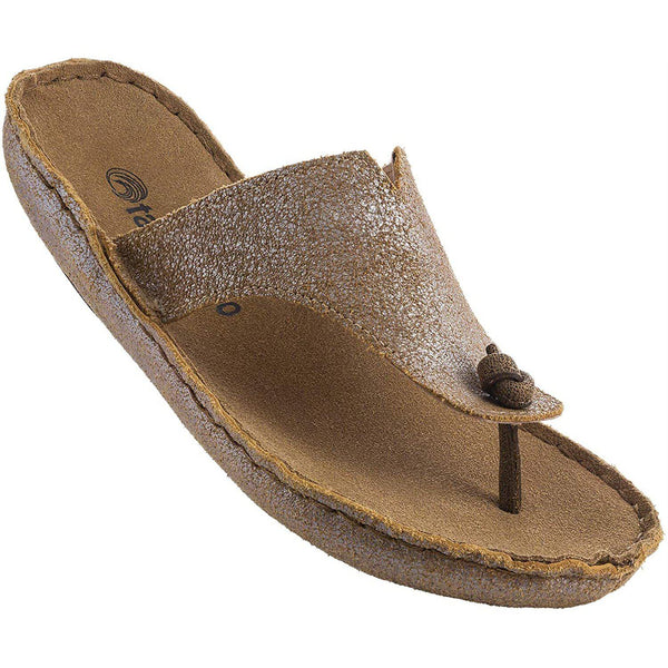 Tamarindo Beachcomber Sandal Women's Leather Softbed Flip Flop - Metallic Gold / 7.5