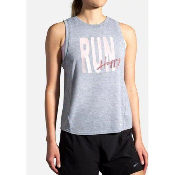 Brooks Women's Distance Graphic Tank - Heather Ash/Run Happy / Extra Large