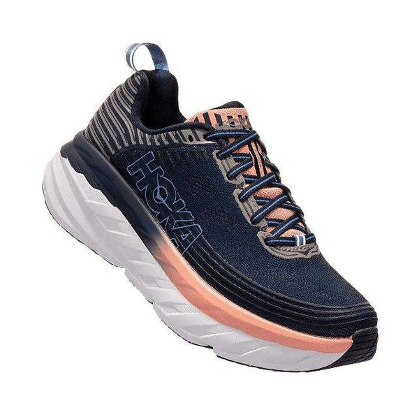 HOKA ONE ONE Women's Bondi 6 Running Shoe - Mood Indigo/Dusty Pink / 9 Wide