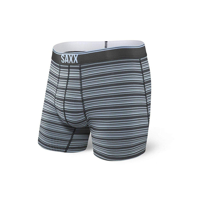 Saxx Underwear Men's Quest Boxer Briefs - Black Daybreak Stripe / Large