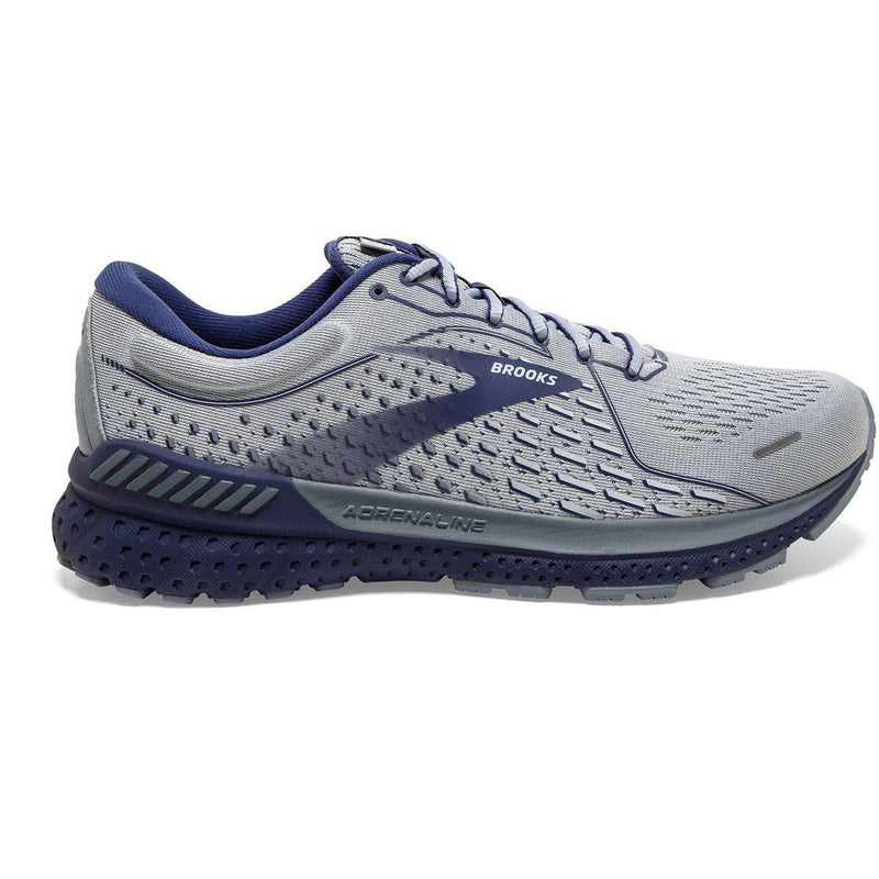 Brooks Men's Adrenaline GTS 21 Running Shoe - Grey/Tradewinds/Deep Cobalt / 10