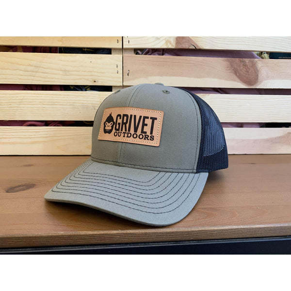 Grivet Outdoors Leather Patch Trucker Hat - Loden/Black Mesh