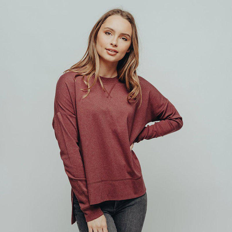The Normal Brand Women's Puremeso Split Side Over Shirt - Wine / Large