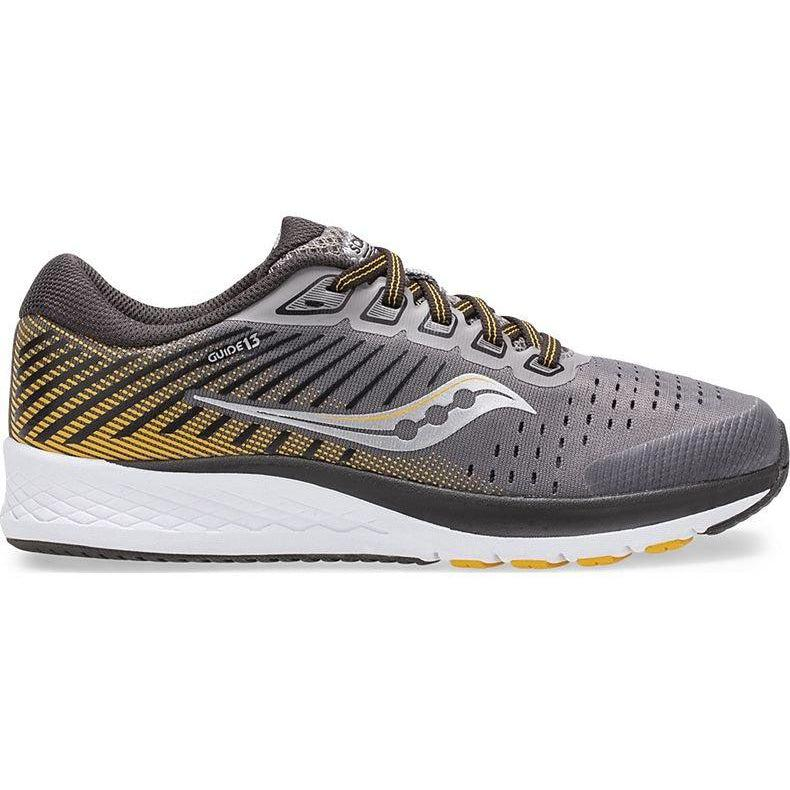Saucony Boy's S-Guide 13 Running Shoe - Grey/Yellow / 3