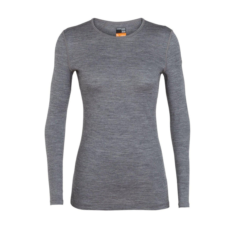 Icebreaker Women's 200 Oasis LS Crewe Shirt - Gritstone Heather / WL