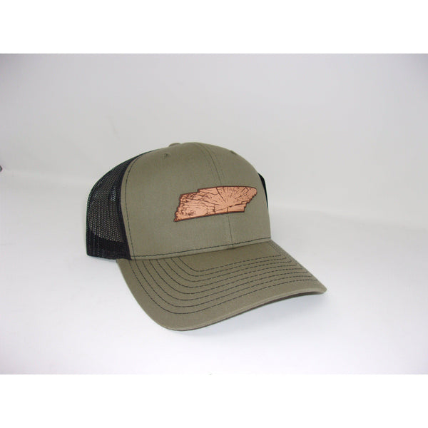 Grivet Outdoors Tennessee State Leather Patch Trucker Hat - Olive Green / Black Mesh