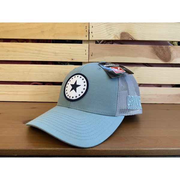 Grivet Outdoors Mississippi State Single Star Cloth Patch Trucker Hat - Blue/Light Blue Mesh