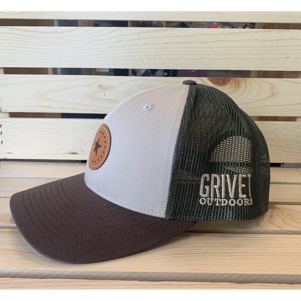 Grivet Outdoors Mississippi State Single Star Leather Patch Trucker Hat - Tricolor White/Brown/Green