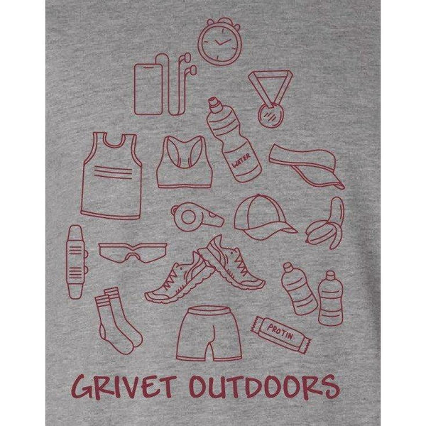 Grivet Outdoors Tee | Run Cloud - Grey w/ Maroon / Extra Large