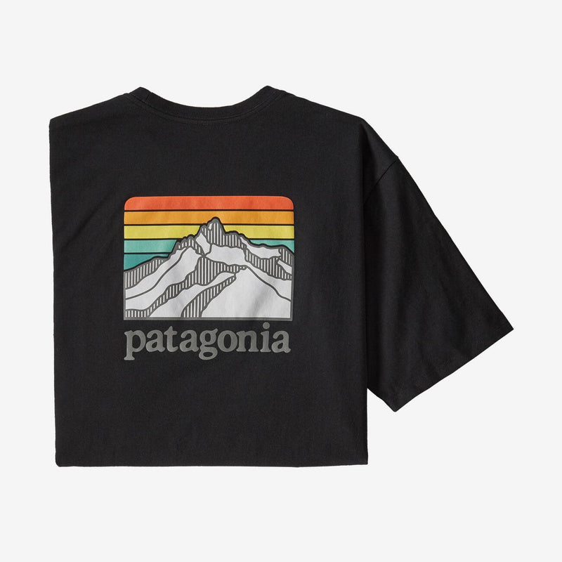 Patagonia Men's Responsibili-tee Line Logo Ridge Pocket - BLACK / L