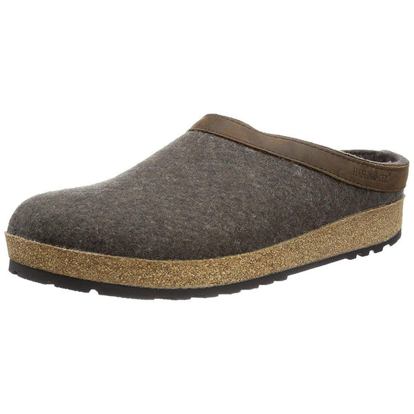 Haflinger Unisex GZL Leather Trim Grizzly Clog - Smokey Brown / 5 Women/3 Men
