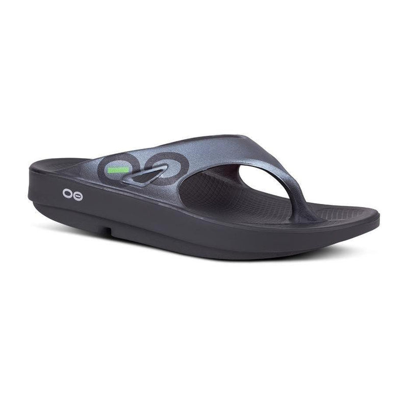 Oofos Unisex OOriginal Sport Thong Recovery Sandal - Black/Graphite / 10
