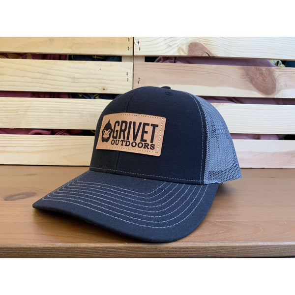 Grivet Outdoors Leather Patch Trucker Hat - Black/Charcoal Mesh