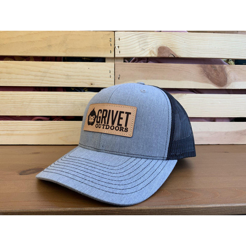 Grivet Outdoors Leather Patch Trucker Hat - Heather Grey/Black Mesh