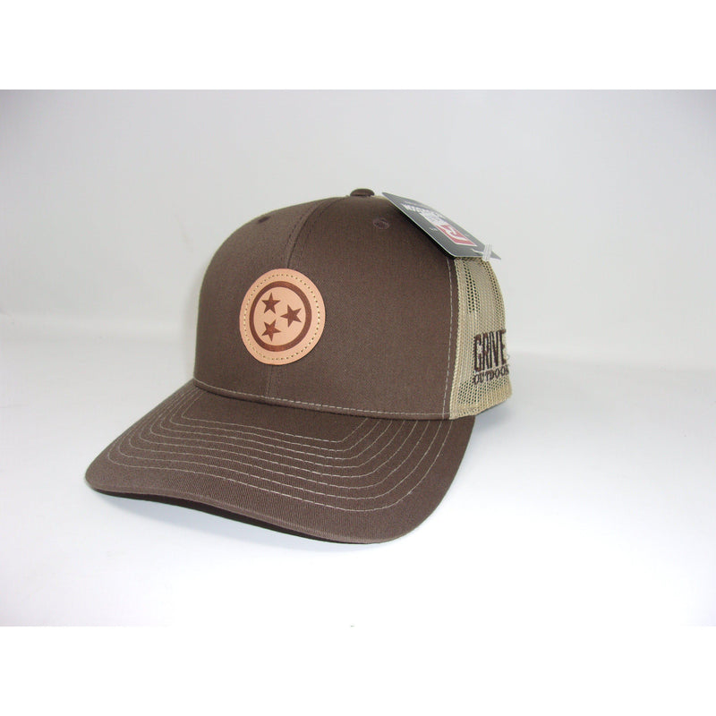 Grivet Outdoors Tennessee State Tri Star Leather Patch Trucker Hat - Dark Brown / Tan Mesh