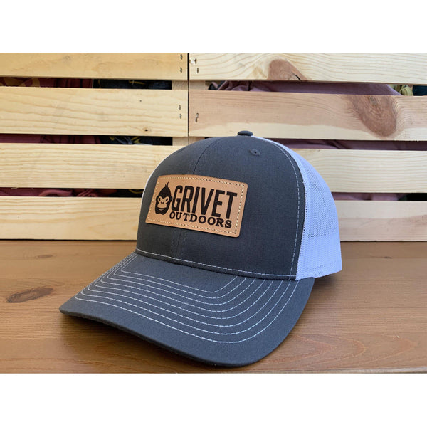 Grivet Outdoors Leather Patch Trucker Hat - Charcoal/White Mesh