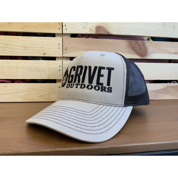 Grivet Outdoors Embroidered Trucker Hat - Khaki/Coffee