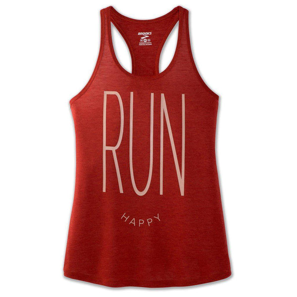 Brooks Women's Distance Graphic Tank - Heather Rosewood/Run Happy / Large