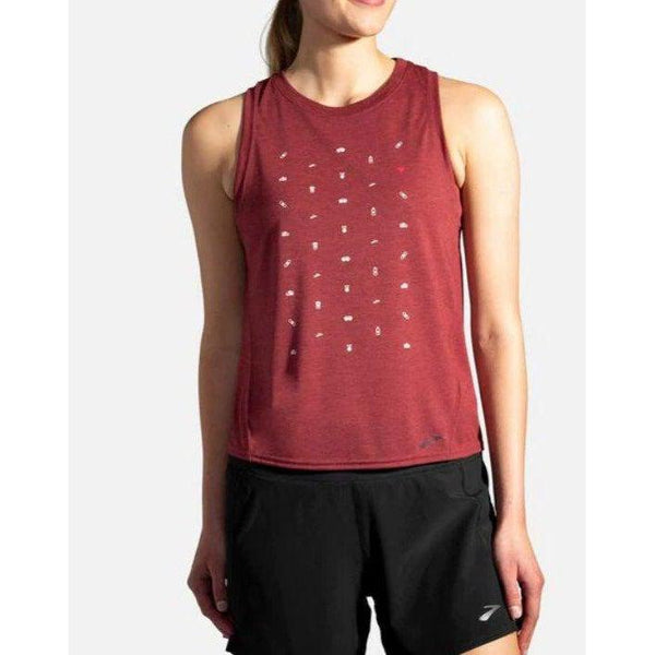 Brooks Women's Distance Graphic Tank - Terracotta/Run Life / Extra Large