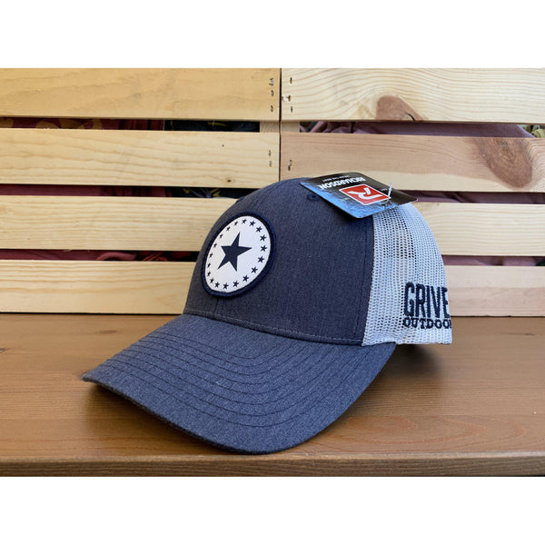 Grivet Outdoors Mississippi State Single Star Cloth Patch Trucker Hat - Denim Blue/White Mesh