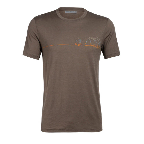 Icebreaker Men's Tech Lite SS Crewe Single Line Camp Tee - Driftwood / L
