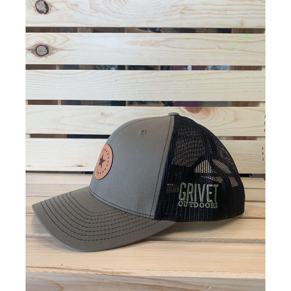 Grivet Outdoors Mississippi State Single Star Leather Patch Trucker Hat - Loden/Black