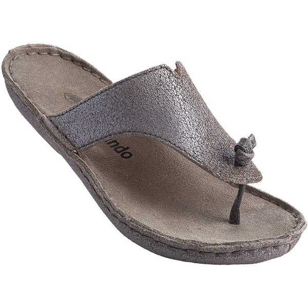 Tamarindo Beachcomber Sandal Women's Leather Softbed Flip Flop - Metallic Silver / 6.5