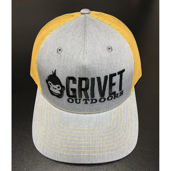 Grivet Outdoors Embroidered Trucker Hat - Heather Grey/Amber Gold