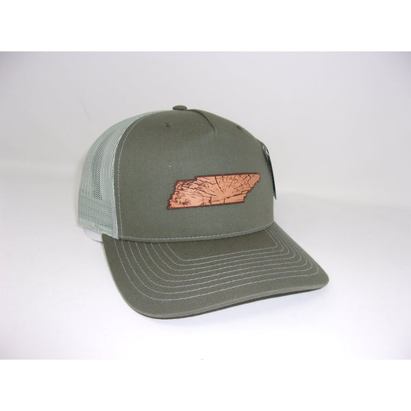 Grivet Outdoors Tennessee State Leather Patch Trucker Hat - Olive Green / Light Gray Mesh