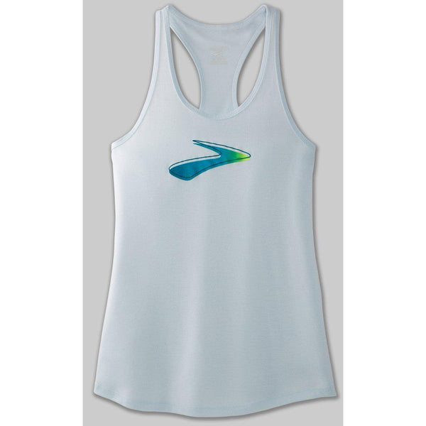 Brooks Women's Distance Graphic Tank - Arctic/Path / Extra Large