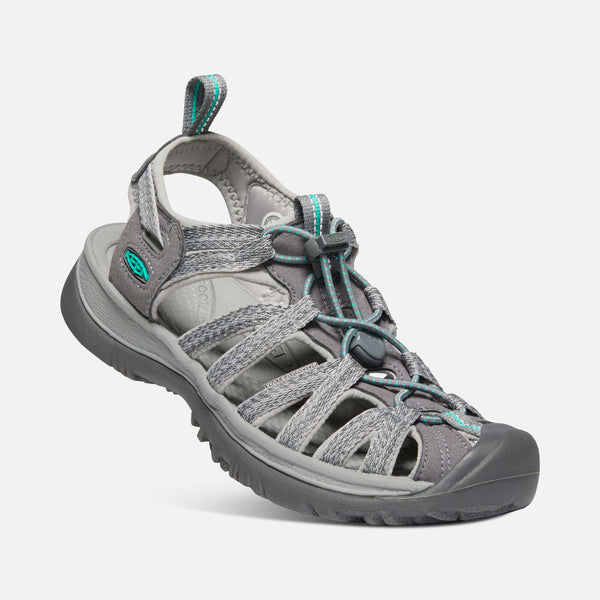 KEEN Women's Whisper Sandal - Medium Grey/Peacock Green / 10