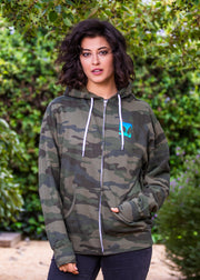 Zip-up Hoodie - Green Camo