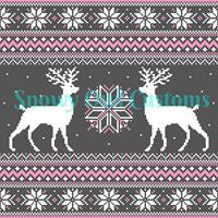 Pink Deer Sweater Print Remnant - **CLEARANCE*