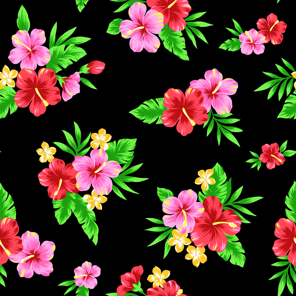 Tropical hibiscus (Black) - ON SALE!