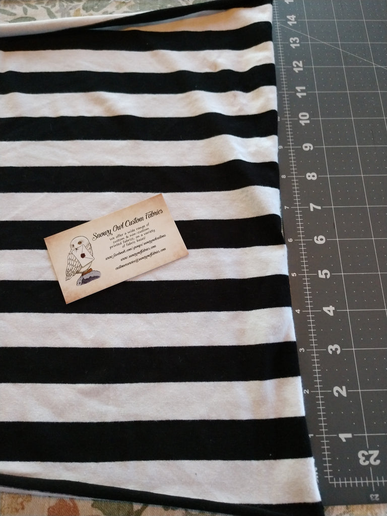 "Black/White 1"" Stripes (yarn-dyed) - On Sale"